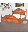 Solid Wood Sheesham Bed With Carving Design