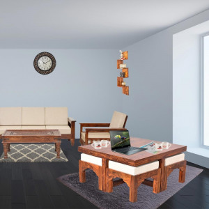 Solid Sheesham Wood Trendy Coffee Table Set with Four Stools