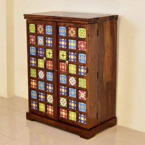Solid Wood Tiles Design Bar Cabinet