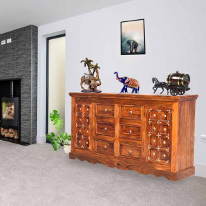 Solid wooden Brass Sideboard