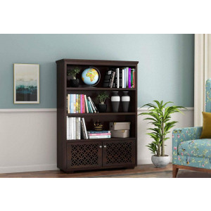 Solid Sheesham Wooden 2 Door CNC Bookshelf