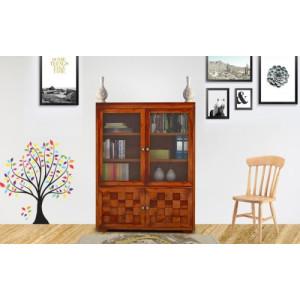 Solid Sheesham Wooden 2 Glass Door Bookshelf