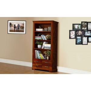 Solid Sheesham Wooden 4 Drawer Bookshelf