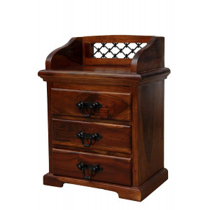 Sheesham Wooden Bed Side 3 Drawers Cabinet Dark Honey Finish