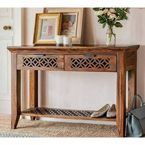 Console Tables for Living Room/Sideboard with 2 Drawer/Study Table for Home (Honey Finish)