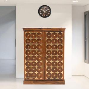 Sheesham Wood Regular Brass Design Bar Cabinet