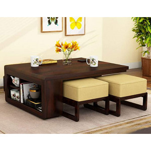 Solid Sheesham Wood Coffee Table Set with Four Stools