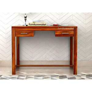 Solid Sheesham Wood Study Desk for Office with 2 Drawers