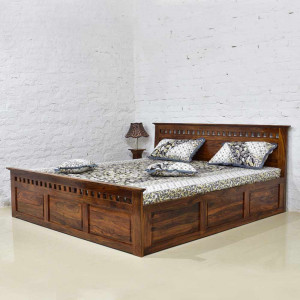 Solid Sheesham Wood Kuber Bed with Storage