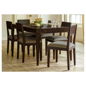 Sheesham Wood 6 Seater Dining Set with Chair for Dining Room Walnut Color