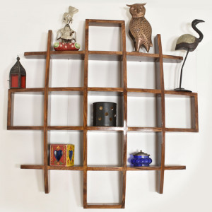 Solid Wood Intersecting Boxes Wall Shelves