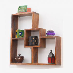 Solid Wood Wide Cube Wall Shelf