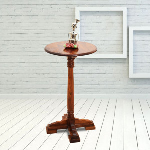 Solid Sheesham Wooden Tall Round Peg Table