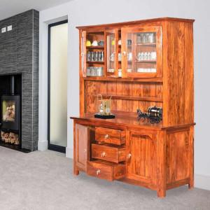 Monarch Solid Wooden Glass Crockery Almirah