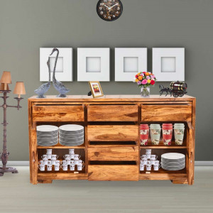 Sheesham Louis Solid Wood Sideboard Six Drawers