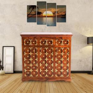 Solid Sheesham Wood Brass Sideboard