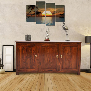 Solid Sheesham Wood 3 Drawers Large Sideboard.