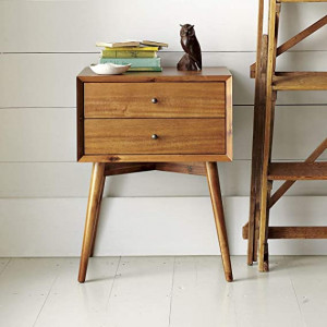 Sheesham Wooden Bedside Table With Natural Finish