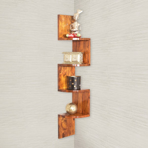 Wooden Wall Shelf Zig-Zag 4 Tier