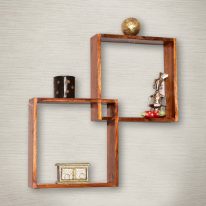 Solid Sheesham Wooden Boxy Modular Wall Shelf