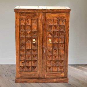 Solid Wooden Diamond Design Bar Cabinet