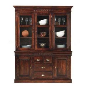 Solid Sheesham Wooden Glass Crockery Almirah