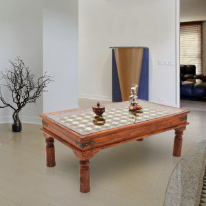 Traditional Center Table with Brass Work