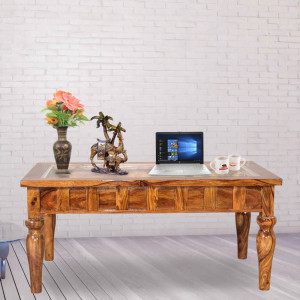 Sheesham wooden Glass Top Center Table