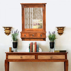 Solid Wooden Lifestyle Dressing Mirror With 3 Storage Drawers