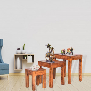 Solid Wooden Cubex Stool Set of 3