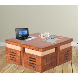 Solid Sheesham Wood Square Petlin Coffee Table with Four Stools