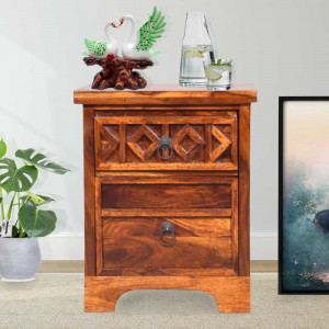 Solid Wood Swirl Bedside Table