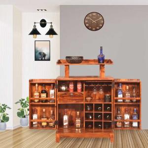 Sheesham Wooden Tray Design Bar Cabinet