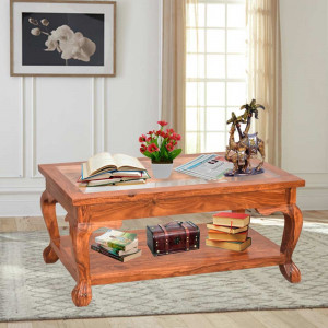 Solid Sheesham wood Glass Top Center Table