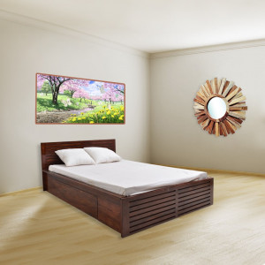 Sheesham Wooden Home Cambrey Bed With Storage