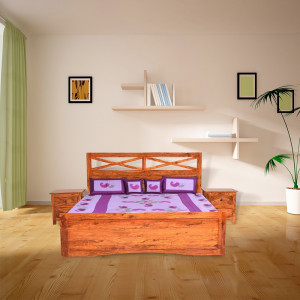 Solid Sheesham Wood Krrish Bed Without box