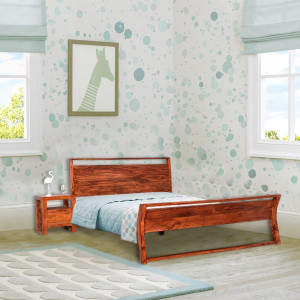 Sheesham Wooden Home Denzel Bed Without Storage