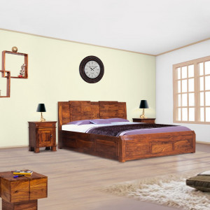 Sheesham Wooden Home Bed Neeson With Box Bed